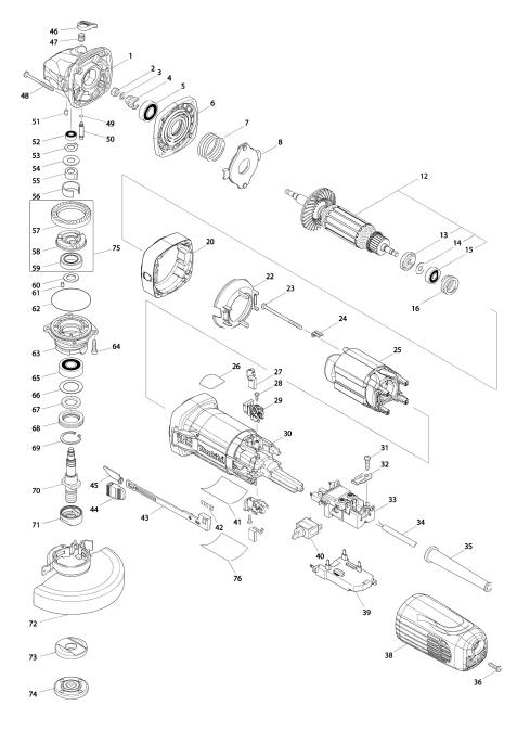 Vue éclatée du modèle:GA5041R