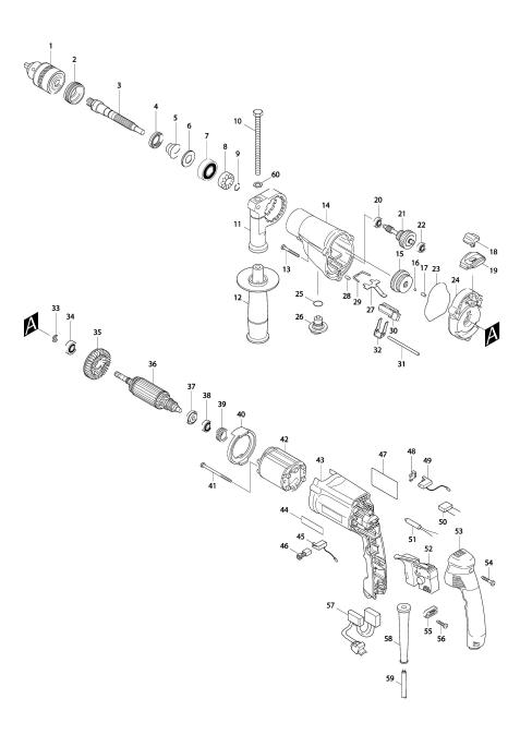 Explosie tekening van:HP2050F