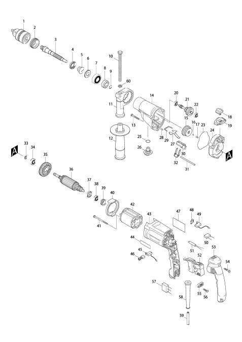 Explosie tekening van:HP2050