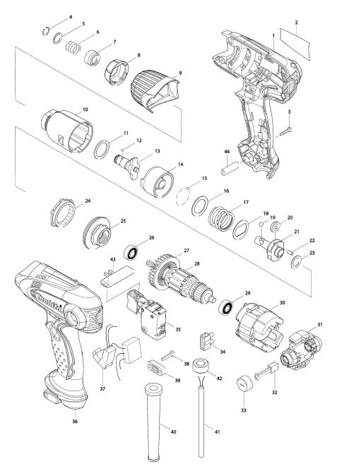 Explosie tekening van:TD0101F